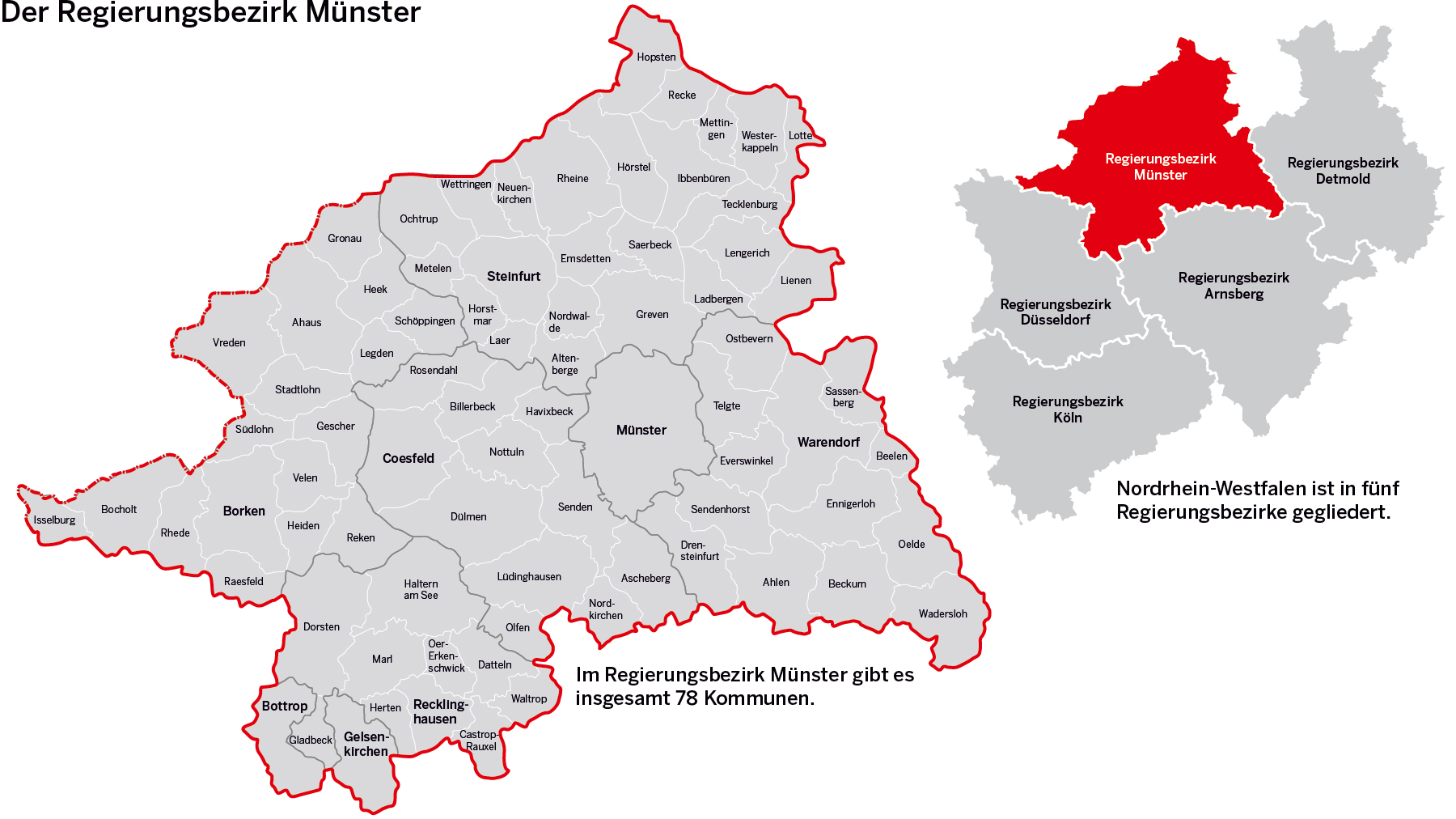 Karte Ruhrgebiet Städte.Bezirksregierung Münster Der Regierungsbezirk Münster